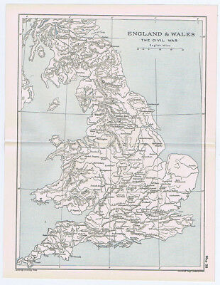 ENGLAND & WALES During the Civil War Antique Map 1912