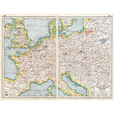 Antique Map 1920 - Industrial Map of Europe - Harmsworth Atlas