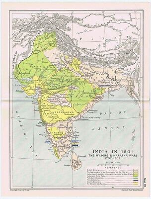 INDIA In the Year 1804 Antique Map 1912
