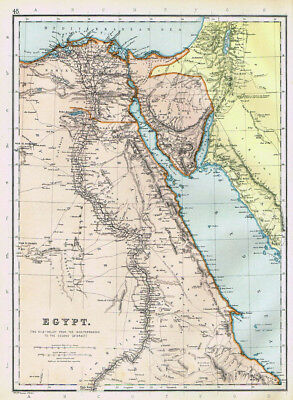 EGYPT Nile Valley to Mediterranean - Antique Map 1895 by Blackie