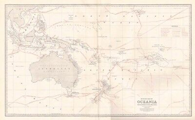 OCEANIA Showing the Routes of Early Discoverers Antique Map 1888 by Waddington