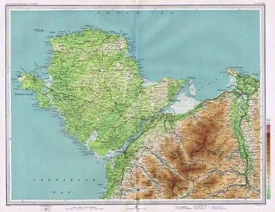 ANGLESEY and CONWY - Antique Map c1903 by Bartholomew; Bangor, Carnarvon
