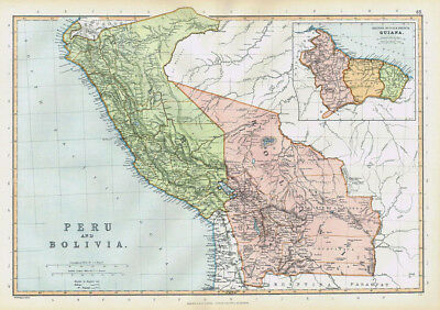PERU & BOLIVIA with inset of Guiana - Antique Map 1895 by Blackie
