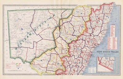 Australia NEW SOUTH WALES Districts & Divisions Antique Map 1888 by AJ Scally