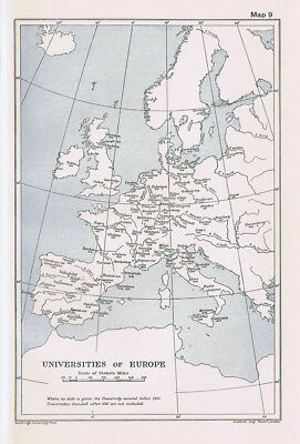 The Universities of Europe Antique Map 1912