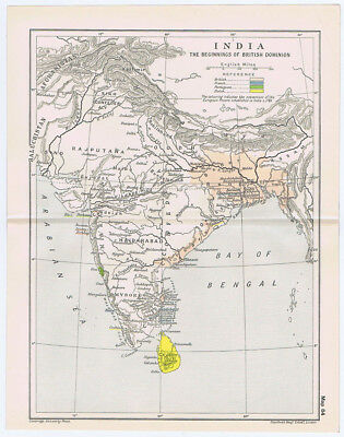 INDIA At the Beginnings of the British Dominion Antique Map 1912