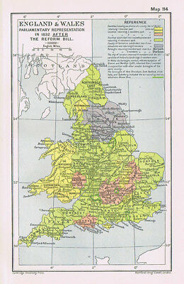 ENGLAND & WALES Parliamentary Representation After Reform Bill Antique Map 1912