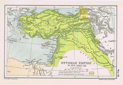 OTTOMAN EMPIRE In Europe Since 1792 Antique Map 1912