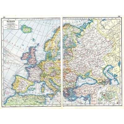Antique Map 1920 - General Map of Europe - Harmsworth Atlas