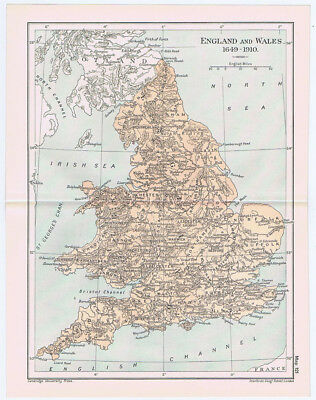 ENGLAND & WALES Antique Map 1912