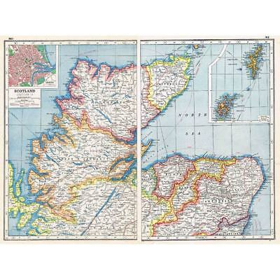 Antique Map 1920 - SCOTLAND (North) insets of Orkney, Shetland & Aberdeen
