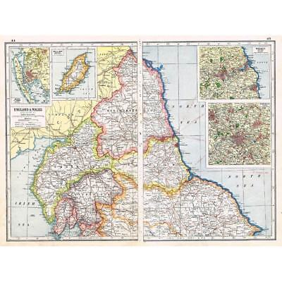 Antique Map 1920 - England and Wales (North Section) Harmsworth Atlas