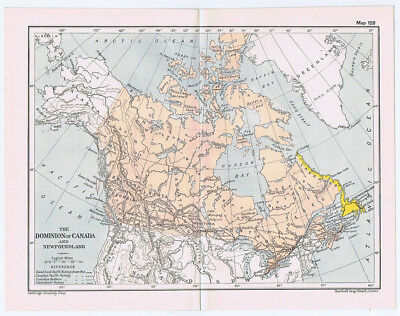 CANADA & Newfoundland Antique Map 1912