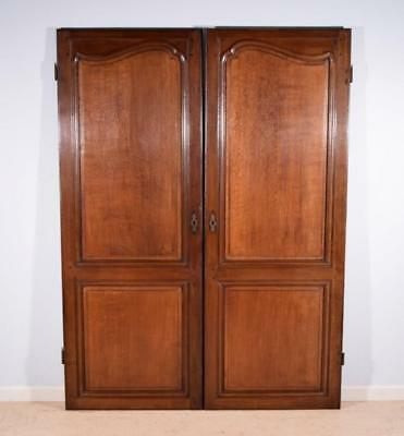 "*76 "" Tall Pair of Antique French Provincial Oak Wood Doors mid 1800's Salvage"