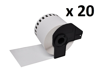 20 x Compatible Brother DK22205 Continuous White Paper Label Tape 62mm x 30.48m
