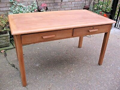 Old vintage mid century solid Oak School Teachers 2 drawer Desk by Burndale