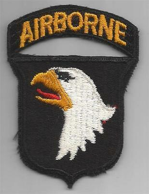 WW 2 US Army 101st Airborne Division Black Back Patch W/ Attached Tab Inv# 438