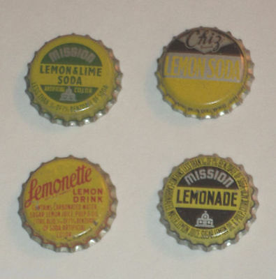 4 Soda Bottle caps – 3 Lemon Soda & Lemonade Metal W/Cork Inside Nice Color See!