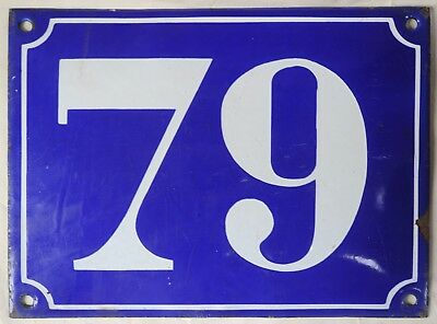 Large old blue French house number 79 door gate plate plaque enamel steel sign