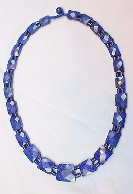 lapis lazuli gemstone faceted collar beautiful quality 17 inches long