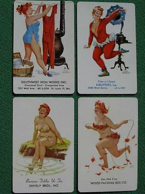 Hilda Pinup Girl Art Duane Bryers Four Different Advertising Swap Cards MINT WOW