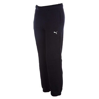 Junior Boys Puma Essential Jog Pants In Black-Ribbed Wait And Cuffs-Pockets To