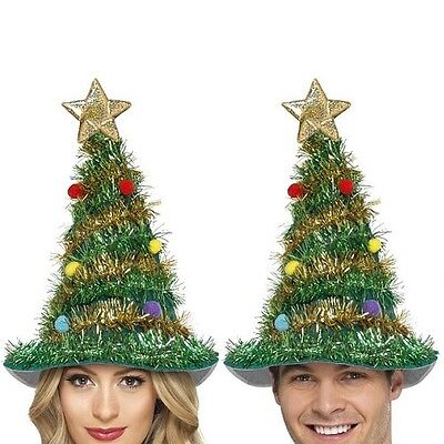 Christmas Tree Fancy Dress Hat with Tinsel Mens Ladies Unisex Xmas Hat New