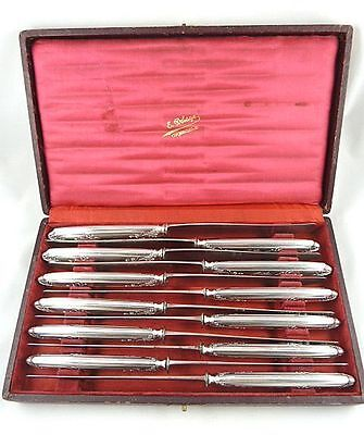"Antique French Puiforcat Silver Dinner Knives Presentation Case 10"" 830 Gram Wt"