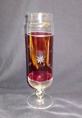 """Vintage Bohemian Cranberry Glass Cut to Clear  - Floral Etch Vase 10 1/4 """" Tall"""