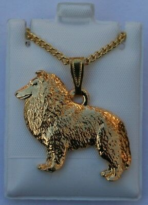 Sheltie Dog 24K Gold Plated Pewter Pendant Chain Necklace Set