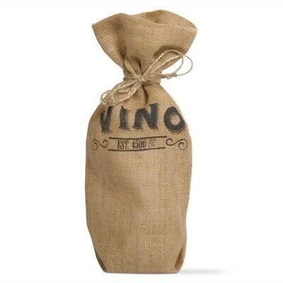 TAG Ltd Burlap Vino Jute Wine Bag Decorative Gift Storage Fabric Housewarming