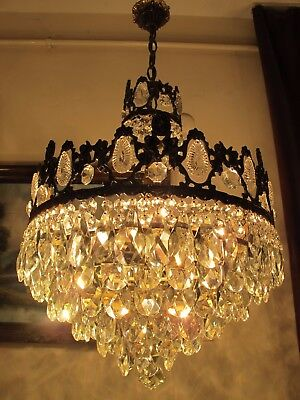 Antique Vnt.RARE French Basket style Crystal Chandelier Light Lamp 1940's 17 in