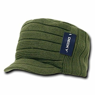 Solid Army Green Jeep Flat Top Beanie Knit Cap Winter Billed Hat Cadet Military