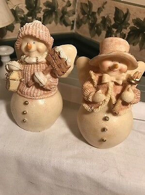 "Set Of 2 Snowman One Woman And One Man 5"" Tall Pink And White"