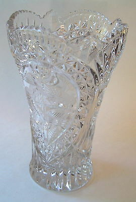 """Crystal Glass Vase Large 10"""" Tall With Birds On It"""