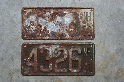 1938 & 1941 New Hampshire Boat License Plate Lot of 2