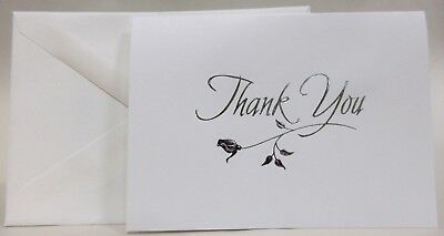 50 White Thank You Note Cards and Envelopes with Silver Rose 5025