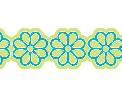 FLIRT Blue Green Flower COSMO Girl Self Adhesive Peel & Stick Wall paper Border