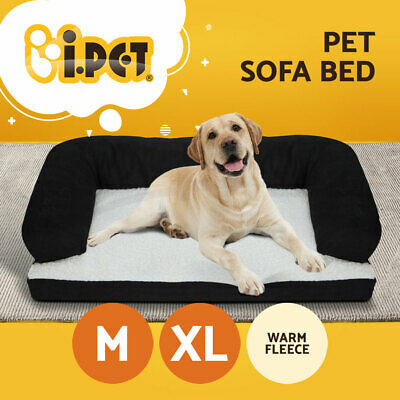 i.Pet Deluxe Couch Pet Bed Bolster Soft Dog Cat Sofa Warm Cushion Fleece M / XL