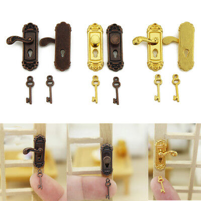 1/12 Vintage Dollhouse Miniature Door Lock and Key Doll House DIY Accessories
