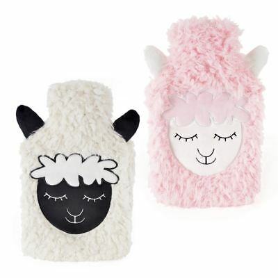 1L Children Kids Hot Water Bottle Plush Fleece Cover Pink White Sheep Face Gift