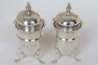A Lovely Antique Pair Of Solid Sterling Silver Victorian Peppers Birmingham 1900