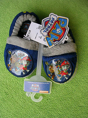"""Nickelodeon - """"paw Patrol""""  Boy's Or Girl's Navy Slippers Size Small 5-6   Nwt"""