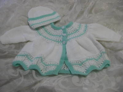 Hand Knitted Baby Coat And Hat Set White , Aqua Lacy 3Ply Size 0-3 Mths New