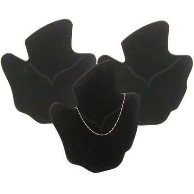 3 Black Flocked Bust Chain & Necklace Displays