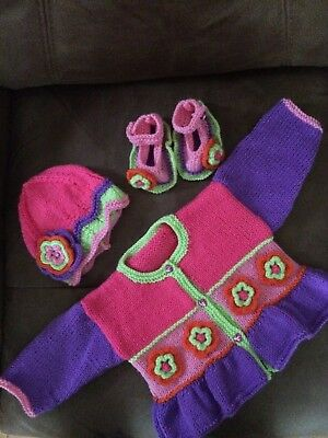 Hand Knitted Cardigan Hat And Shoes Set Mulit Coloured Flowers  Age 3-6 Mths New