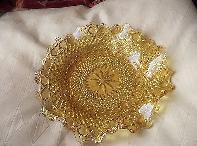 Elegant Bright Gold Amber Glass Shallow Dish Frill Rim Sparkle Cut Design Ex