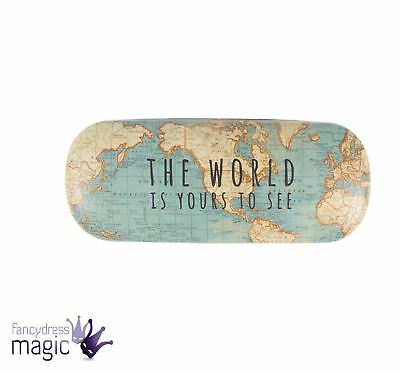Sass Belle Vintage Chic World Map Glasses Specs Case Cover Vision Care Home Gift