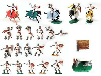20 Vintage 1970s TIMPO CRUSADERS 1/32 TOY SOLDIERS 5 Mounted 15 foot knights