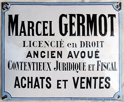 Old French enamel building sign plaque notice lawyer tax law Marcel Germot 1920s